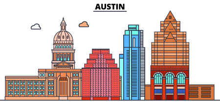 Austin,United States, flat landmarks vector illustration. Austin line city with famous travel sights, design skyline.