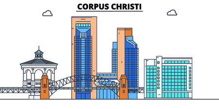 Corpus Christi,United States, flat landmarks vector illustration. Corpus Christi line city with famous travel sights, design skyline.