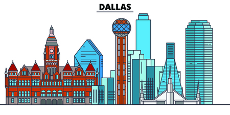 Dallas,United States, flat landmarks vector illustration. Dallas line city with famous travel sights, design skyline.