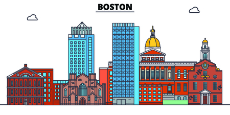 Boston, États-Unis, illustration vectorielle de repères plats. Ville de la ligne de Boston avec des sites touristiques célèbres, horizon design.