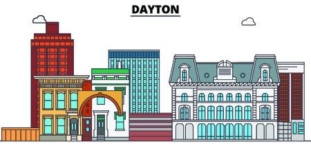 Dayton,United States, flat landmarks vector illustration. Dayton line city with famous travel sights, design skyline.