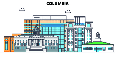 Columbia,United States, flat landmarks vector illustration. Columbia line city with famous travel sights, design skyline. 스톡 콘텐츠 - 122526556