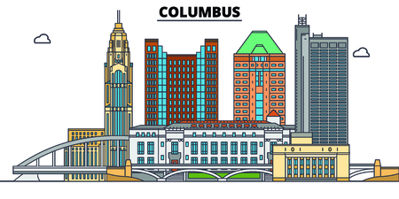 Columbus,United States, flat landmarks vector illustration. Columbus line city with famous travel sights, design skyline. 版權商用圖片 - 123442629
