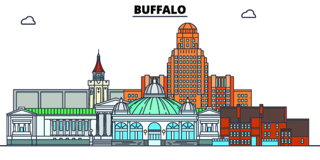 Buffalo,United States, flat landmarks vector illustration. Buffalo line city with famous travel sights, design skyline.