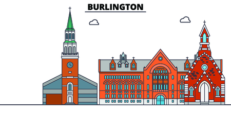 Burlington,United States, flat landmarks vector illustration. Burlington line city with famous travel sights, design skyline. Illustration