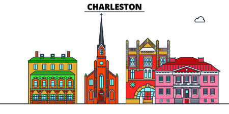 Charleston,United States, flat landmarks vector illustration. Charleston line city with famous travel sights, design skyline.