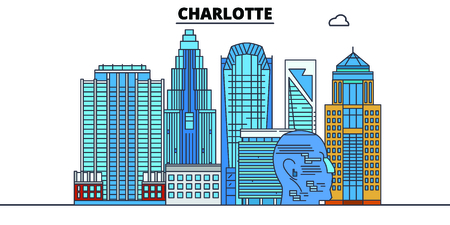 Charlotte,United States, flat landmarks vector illustration. Charlotte line city with famous travel sights, design skyline.