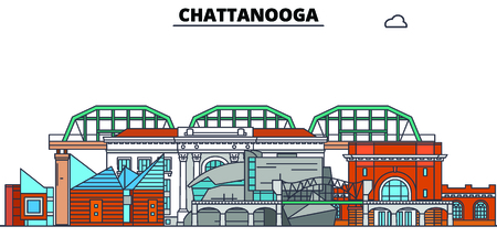 Chattanooga,United States, flat landmarks vector illustration. Chattanooga line city with famous travel sights, design skyline.