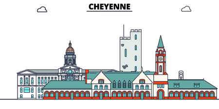 Cheyenne,United States, flat landmarks vector illustration. Cheyenne line city with famous travel sights, design skyline.
