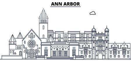 Ann Arbor,United States, flat landmarks vector illustration. Ann Arbor line city with famous travel sights, design skyline.