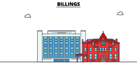 Billings,United States, flat landmarks vector illustration. Billings line city with famous travel sights, design skyline.