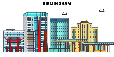 Birmingham,United States, flat landmarks vector illustration. Birmingham line city with famous travel sights, design skyline. Çizim