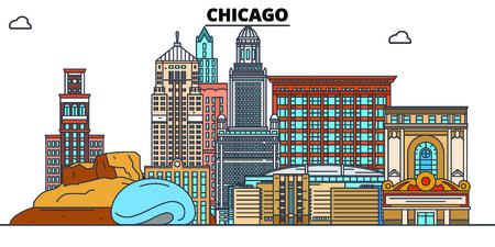 Chicago, Vereinigte Staaten, flache Sehenswürdigkeiten-Vektor-Illustration. Stadt der Chicago-Linie mit berühmten Reisesehenswürdigkeiten, Design-Skylinen.