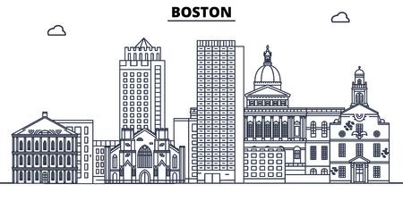 Boston,United States, flat landmarks vector illustration. Boston line city with famous travel sights, design skyline.