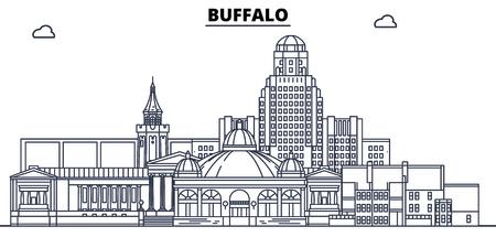 Buffalo,United States, flat landmarks vector illustration. Buffalo line city with famous travel sights, design skyline.