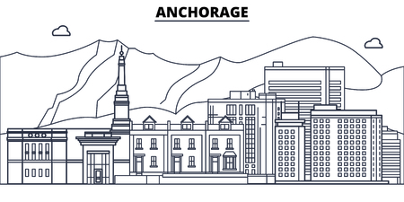 Anchorage,United States, flat landmarks vector illustration. Anchorage line city with famous travel sights, design skyline. Çizim