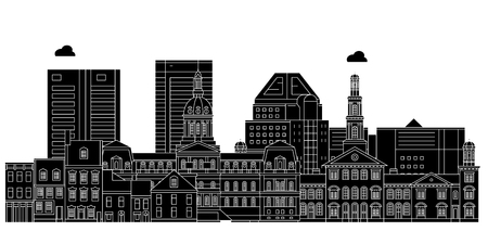 Baltimore , United States, outline travel skyline vector illustration Illusztráció