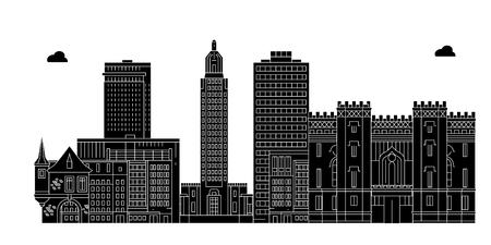 Baton Rouge, États-Unis, contours voyage skyline vector illustration.