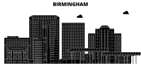 Birmingham , United States, outline travel skyline vector illustration