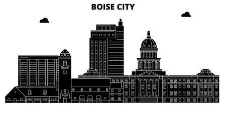 Boise City , United States, outline travel skyline vector illustration. Illustration