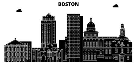 Boston , United States, outline travel skyline vector illustration