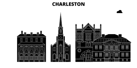 Charleston , United States, outline travel skyline vector illustration
