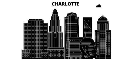 Charlotte , United States, outline travel skyline vector illustration  イラスト・ベクター素材