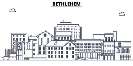 Bethlehem,United States, flat landmarks vector illustration. Bethlehem line city with famous travel sights, design skyline. Illustration