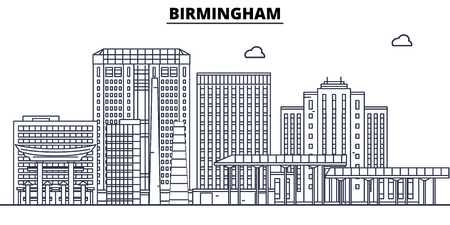 Birmingham,United States, flat landmarks vector illustration. Birmingham line city with famous travel sights, design skyline. Illustration