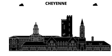 Cheyenne , United States, outline travel skyline vector illustration Illustration