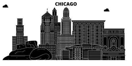 Chicago , United States, outline travel skyline vector illustration Иллюстрация