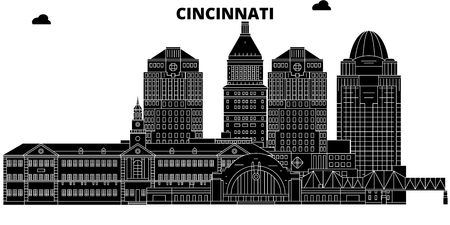 Cincinnati , United States, outline travel skyline vector illustration