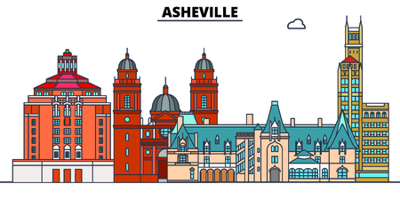 Asheville,United States, flat landmarks vector illustration. Asheville line city with famous travel sights, design skyline. Ilustrace