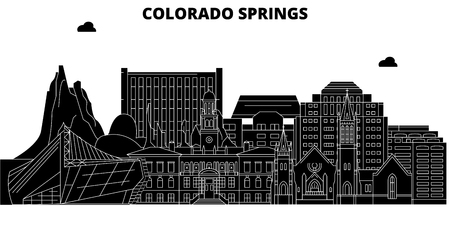 Colorado Springs , United States, outline travel skyline vector illustration.