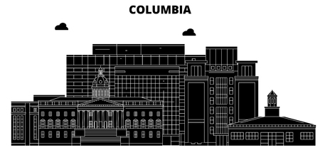 Columbia , United States, outline travel skyline vector illustration