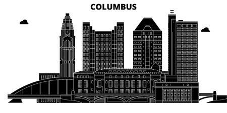 Columbus , United States, outline travel skyline vector illustration