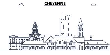 Cheyenne,United States, flat landmarks vector illustration. Cheyenne line city with famous travel sights, design skyline.