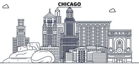 Chicago,United States, flat landmarks vector illustration. Chicago line city with famous travel sights, design skyline. Illustration