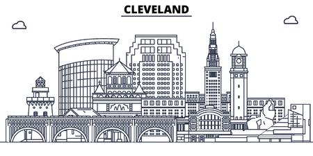 Cleveland,United States, flat landmarks vector illustration. Cleveland line city with famous travel sights, design skyline. Illustration