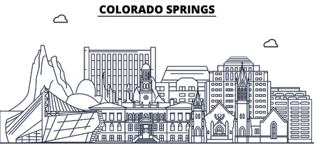 Colorado Springs,United States, flat landmarks vector illustration. Colorado Springs line city with famous travel sights, design skyline.