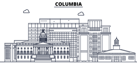 Columbia,United States, flat landmarks vector illustration. Columbia line city with famous travel sights, design skyline.