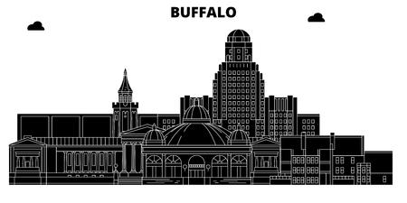 Buffalo , United States, outline travel skyline vector illustration