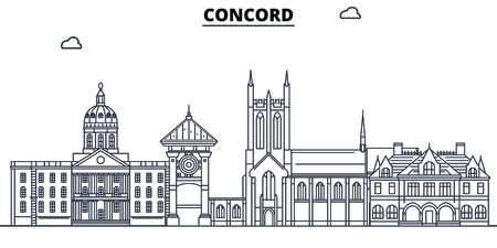 Concord,United States, flat landmarks vector illustration. Concord line city with famous travel sights, design skyline.