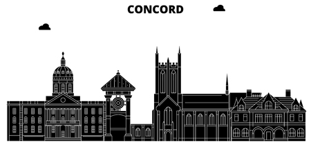Concord , United States, outline travel skyline vector illustration