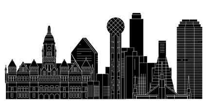 Dallas , United States, outline travel skyline vector illustration