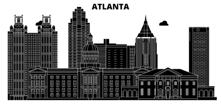 Atlanta , United States, outline travel skyline vector illustration Illustration