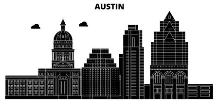 Austin , United States, outline travel skyline vector illustration Vector Illustration
