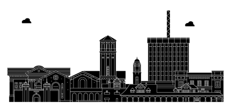 Bakersfield , United States, outline travel skyline vector illustration