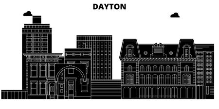 Dayton , United States, outline travel skyline vector illustration Illustration