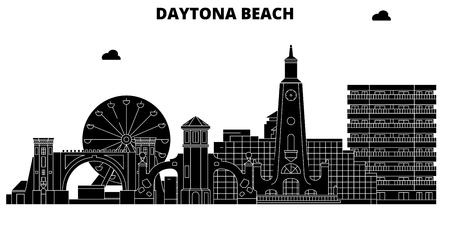 Daytona Beach , United States, outline travel skyline vector illustration. Illustration